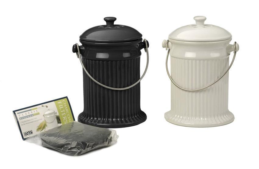 Deluxe Stoneware Compost Pail Black or White